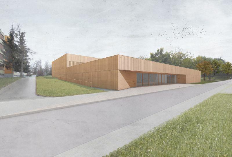Entwurf Zweifeld-Sporthalle (Quelle: ARGE BURICKERBARNIKOL und thoma architekten