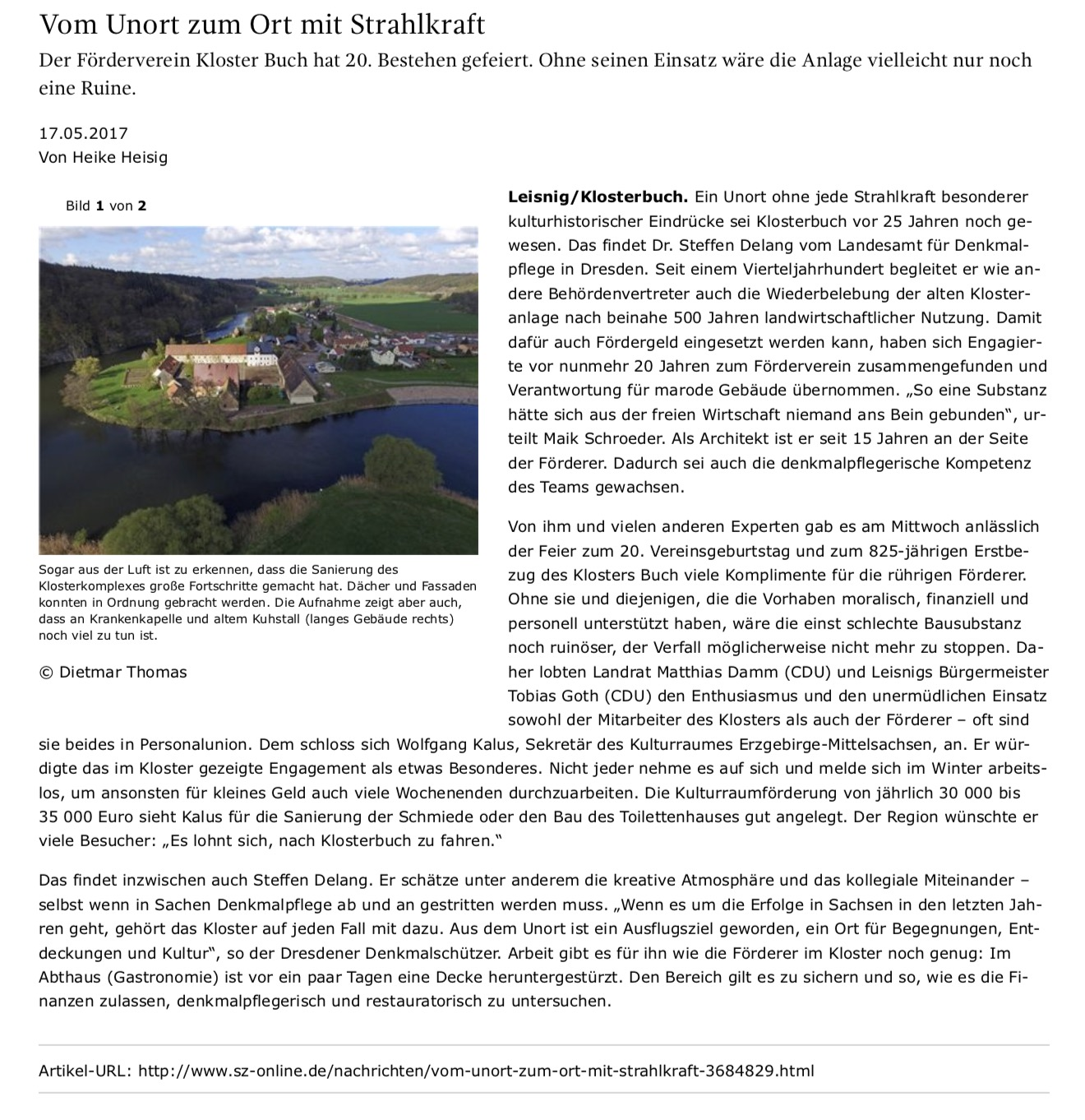 Artikel des Döbelner Anzeigers vom 17. Mai 2017