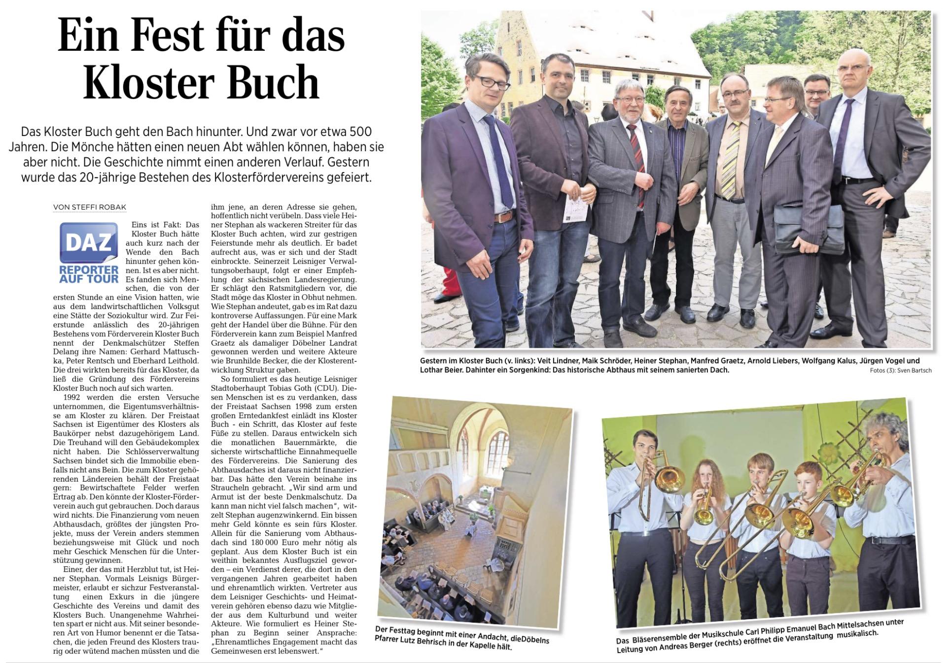 Artikel der Döbelner Allgemeinen Zeitung vom 18. Mai 2017