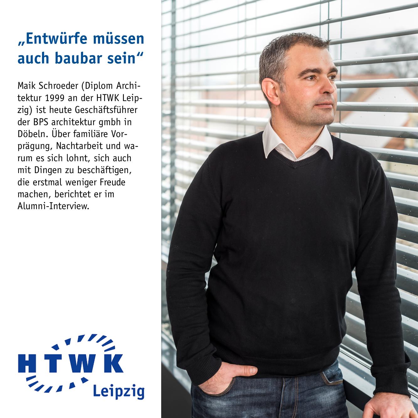 Architekt Maik Schroeder im Interview der Hochschule für Technik, Wirtschaft und Kultur Leipzig