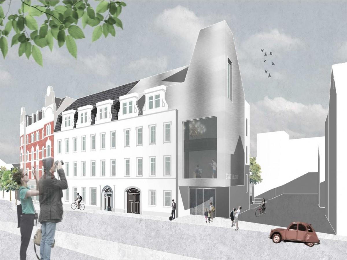 Stadtbibliothek Mittweida_Wettbewerb BPS architektur_Perspektive Eingangsbereich mit Turm
