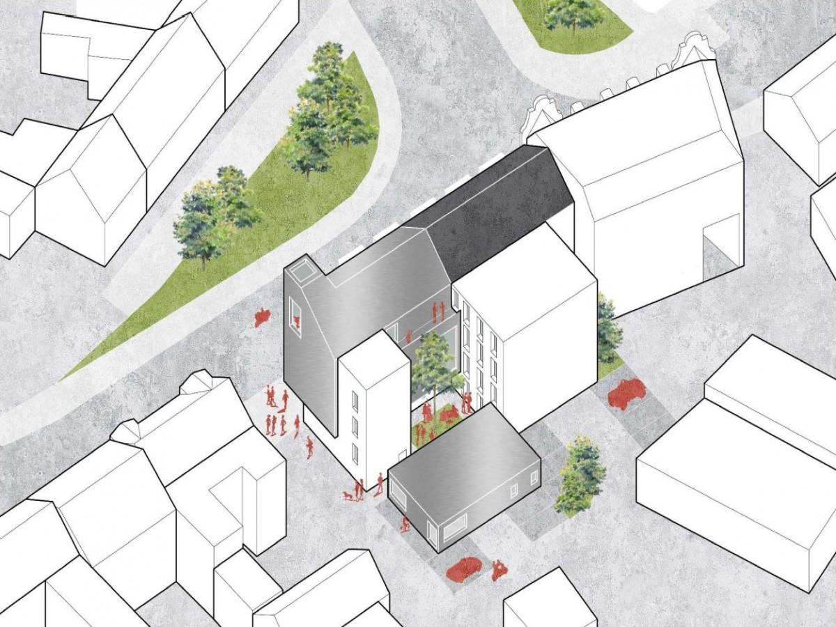 Stadtbibliothek Mittweida_Wettbewerb BPS architektur_Isometrie